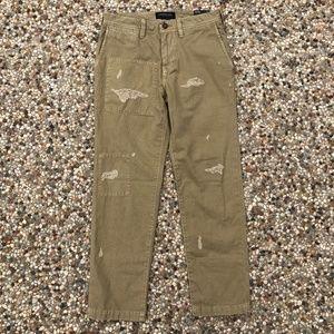 AEO Men's 28/26 Khaki Chino Pants Destroyed NWT
